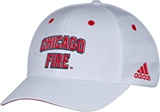 adidas MLS Chicago Fire Men's White Wordmark Structured Adjustable Hat, One Size, White