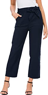 Afibi Paper Bag Pants for Women Casual Trouser for Work with Pockets