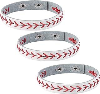 HZMAN 3Pcs Genuine Leather Baseball Bracelets by Athletes Bangle Cuff Wristband, White Black Yellow