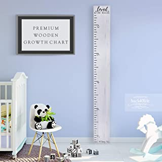 Back40Life Wooden Kids Growth Chart Ruler for Boys and Girls (No Tippy Toes - Loved Beyond Measure) (Weathered White)