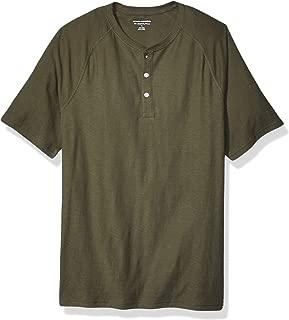 Amazon Essentials Men's Slim-Fit Short-Sleeve Slub Henley T-Shirt, Olive, X-Large