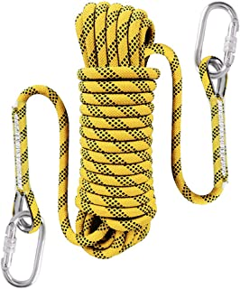 Liberry Outdoor Static Rock Climbing Rope,10 mm(3/8 in) Diameter, Fire Escape Safety Rescue Rappelling Rope with Carabiner: 32_ft, 64_ft, 96_ft, 160_ft Optional