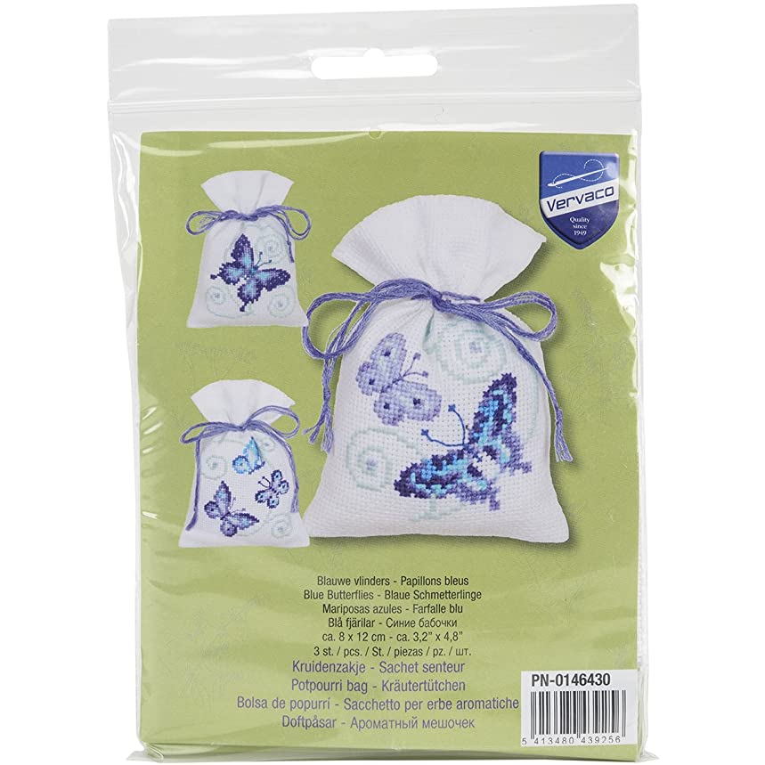 Vervaco Blue Butterflies Bags on Aida Counted Cross Stitch Kit, 3.25