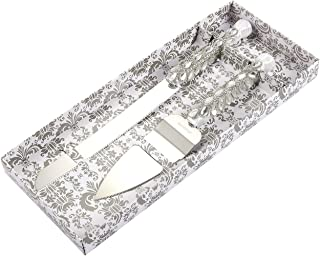 Silver Cake Server Set – Cuchillo de boda de acero inoxidable con diamantes, cristales, cinta envuelta alrededor del mango