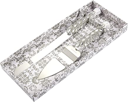 Silver Cake Server Set - Stainless Steel Wedding Knife with Diamonds,  Crystals,  Ribbon Wrapped Around Handle