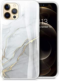 GVIEWIN Aurora Lite Series Case Compatible with iPhone 12 Pro Max 6.7 Inch 2020, Marble Ultra Slim Thin Glossy Soft TPU Rubber Stylish Flexible Protective Case Cover (Blanco/Grey)
