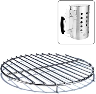 Chimney-Mate Charcoal Starter Grill Grate- Turn Your Charcoal Chimney Into A Portable Grill- Fits On Top of Most 7.5 Inch Chimneys - Portable Camping Grill Grate-Sous Vide Accessory-SS 201