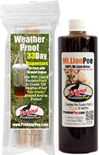 PredatorPee – 100% Pure Mountain Lion Urine – 12oz Squeeze Bottle Combo with 33 Day Dispensers