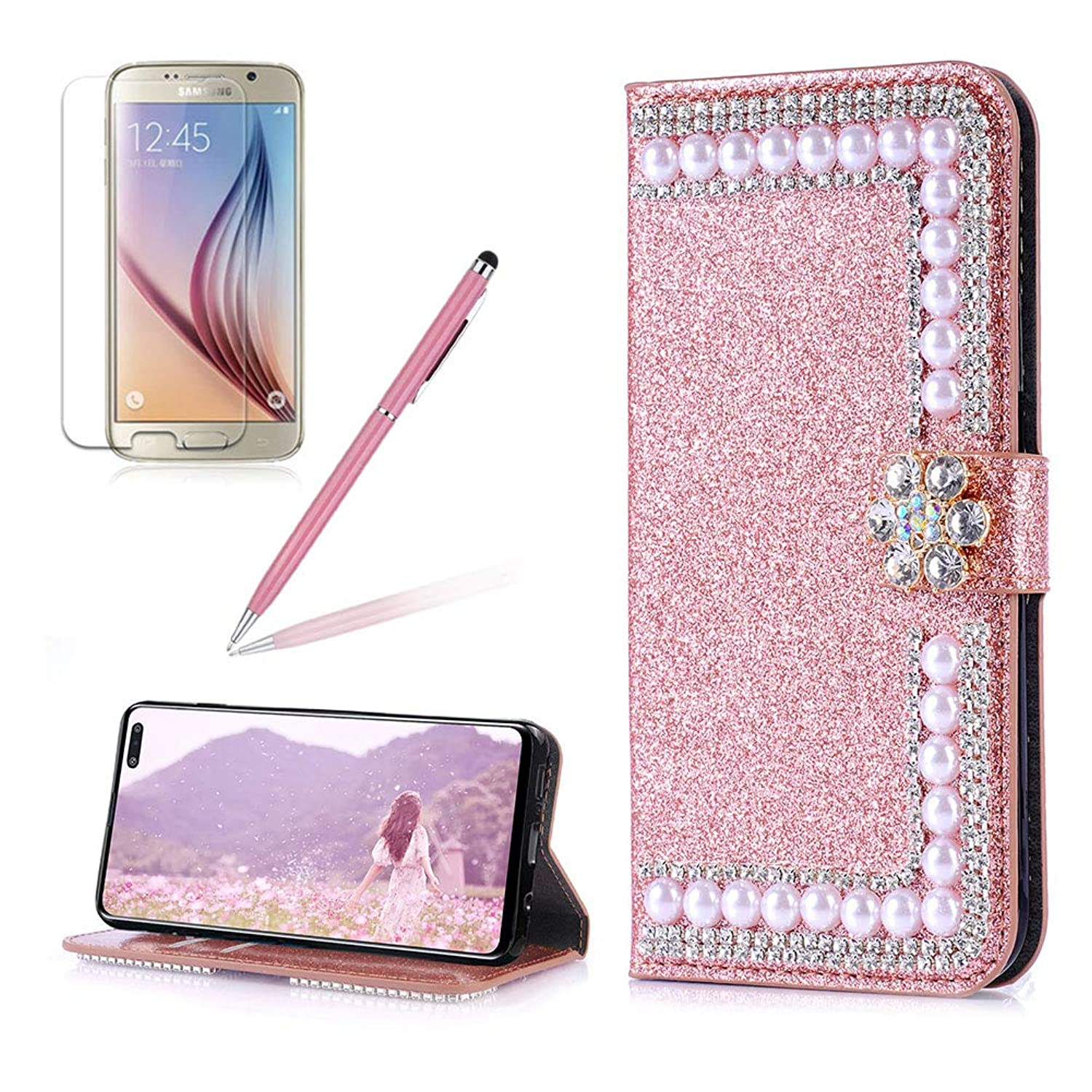 Girlyard PU Leather Wallet Flip Case for Samsung Galaxy S10 Plus, Luxury Bling Crystal Rhinestone 3D Flowers Magnetic Diamond Buckle with Stand Card Holder for Samsung Galaxy S10 Plus-Rose Gold