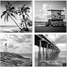 Biuteawal- 4 Piece Wall Art Back White Beach Picture Canvas Print Florida Coastline Lighthouse Lifeguard Tower Pier Poster Print Streched Framed Artwork Living Room Bedroom Bathroom Deco