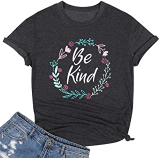 UNIQUEONE Be Kind T Shirt for Women Floral Graphic Print Tee Letter Print Funny Inspirational Tops T Shirts