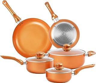 Furnikko Nonstick Pots and Pans Set, 8 Pcs Cookware Set, Non-stick Frying Pan Ceramic Coating Stockpot, Cooking Pot, Lids, Gas, Induction Compatible.