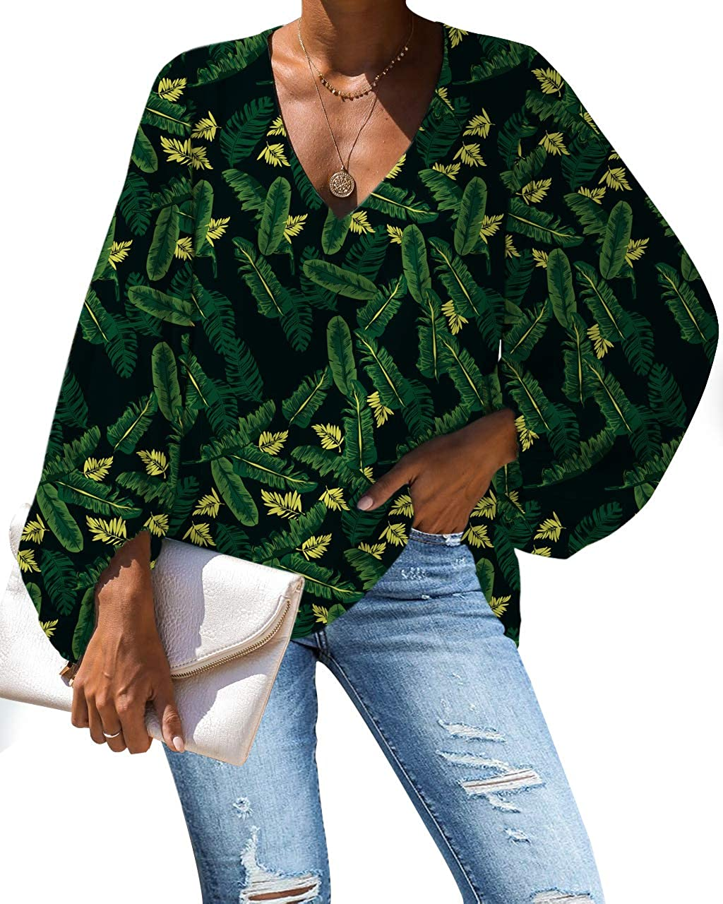 Tropical Hawaii Long Sleeve Loose Shirts V Neck discount Cheap SALE Start Tops Bl Deep and