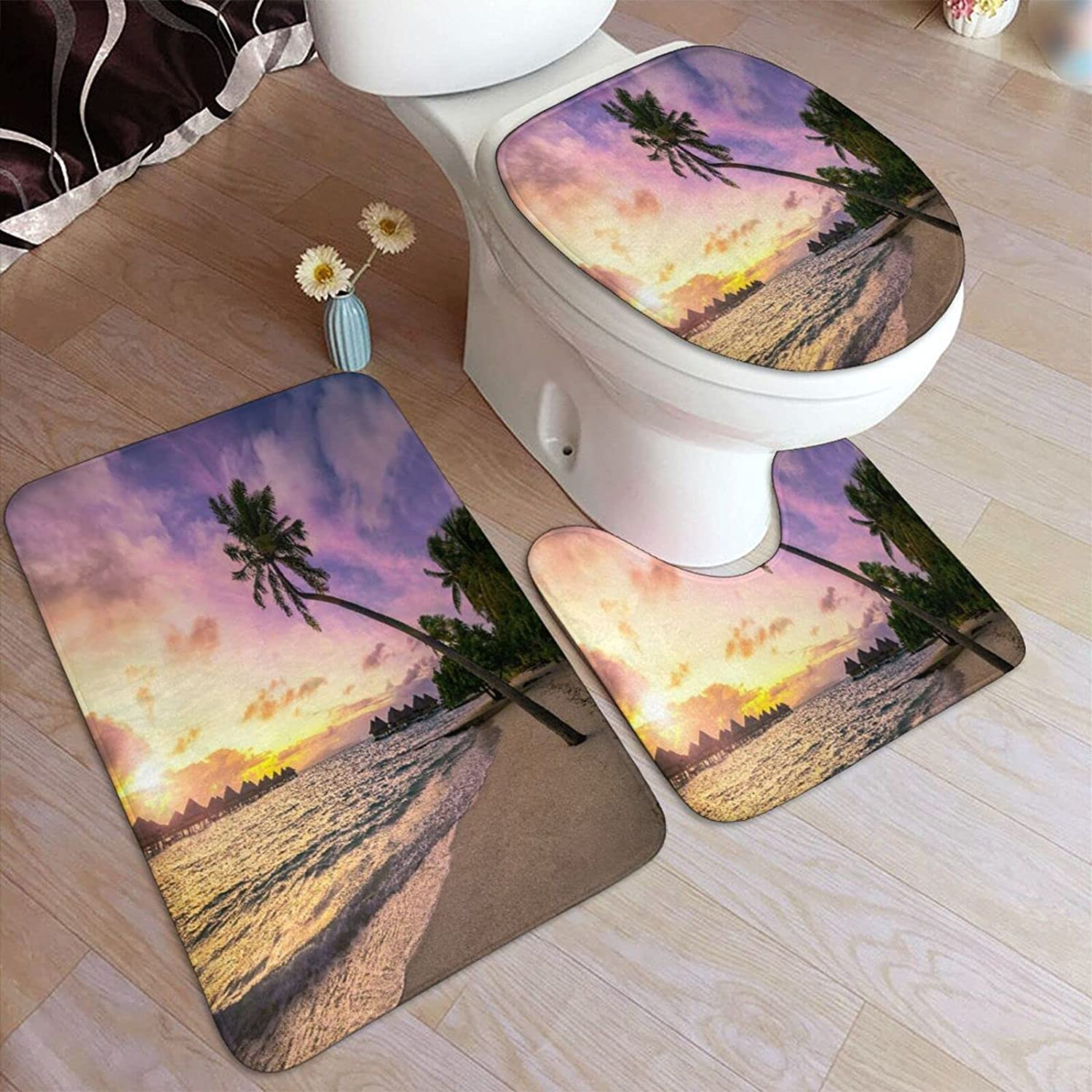 3 Piece Special price Bathroom Rugs Set Courier shipping free shipping Spectacular Colorful Sunset A Tropi On