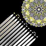 12 Pieces White Silver Gold Gel Pens Set, 0.8mm Fine Point Highlight Pens for Artists Dark Paper Drawing Painting Writing Art Design School Supplies Sketching Pens for Students Artists