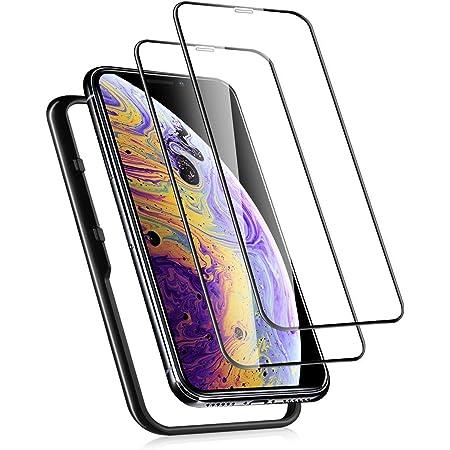 【2枚セット】 ガラスフィルム iPhone 11 Pro 用 iPhone X XS 適用 強化 ガラス 保護 フィルム ガイド枠