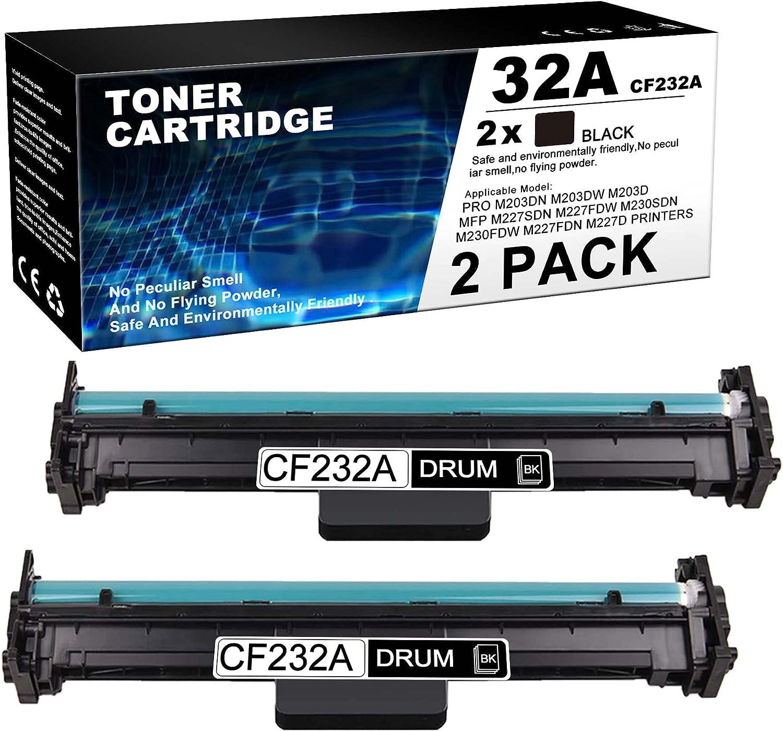 JETACOLOR Compatible Drum Unit Replacement for HP32A   CF232A Drum Pro M203dn M203dw M203d MFP M227sdn M227fdw M227fdn M227d Ultra MFP M230sdn M230fdw Printer (Black, 2 Pack)