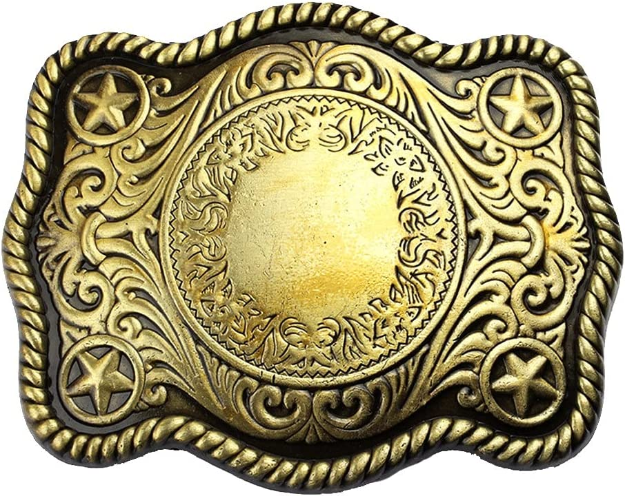 YFQHDD Antique Engraved Stars 70% OFF Outlet Grass Belt Deluxe Buckle Pattern Western
