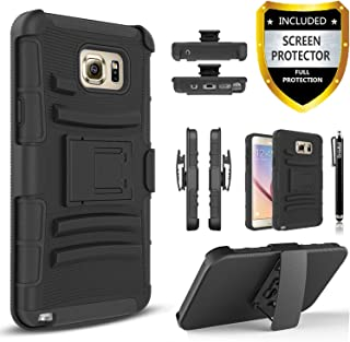Note 5 Case, Galaxy Note 5 Case, Combo Phone Cover Kickstand with [HD Screen Protector] and Built-in Holster Locking Belt Circlemall Stylus Pen For Samsung Galaxy Note 5 -Black