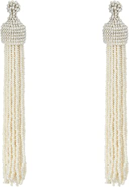 White Pearl Seed Bead Tassel Direct Post Ear Earrings