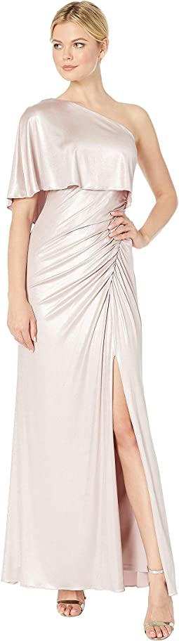 Metallic Draped One Shoulder Evening Gown