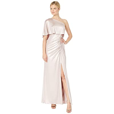 Adrianna Papell Metallic Draped One Shoulder Evening Gown (Dusted Petal) Women