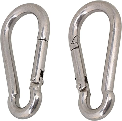 Viva Fitness M8x80mm 304 Stainless Steel Spring Snap Hook Carabiner (Silver) - Pack of 2