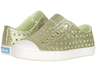 Native Kids Shoes Jefferson Bling Glitter (Toddler/Little Kid) (Cucumber Bling/Shell White) Girls Shoes