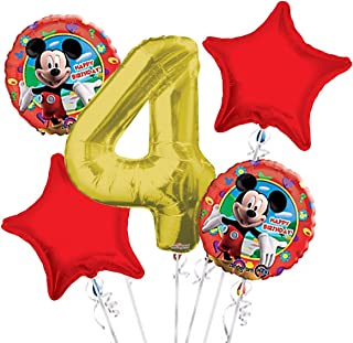 Mickey Mouse Balloon Bouquet 4th Birthday 5 pcs - Party Supplies