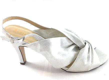 a08d79d5b7 Lotus Leandra Ice Shimmer Textile Peep Toe Sling Back Sandal Off-White