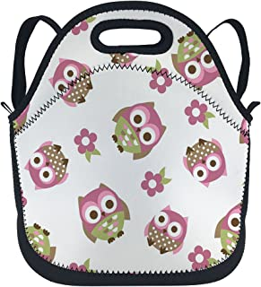oFloral Owl Insulated Neoprene Lunch Bag Tote Pink Flowers Lunchbox Backpack With Detachable Adjustable Shoulder Strap For Children Kids Teens Women Girls Boys School Office