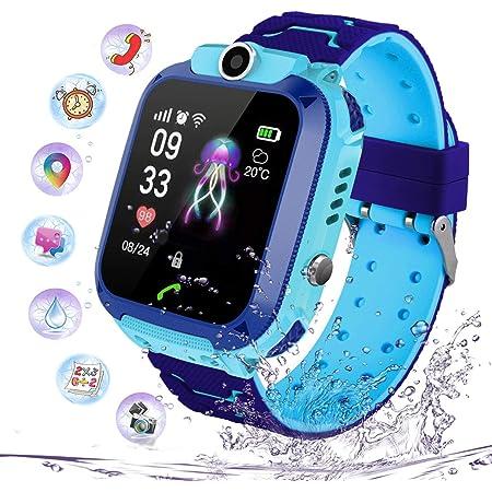 Enfants Smartwatch IP67 Étanche - Montre Intelligente LBS Localisateur avec Chat Vocal SOS Aide Montres Appareil Photo Numérique Mobile Téléphone Montre Cadeau Enfants pour Filles Garçons (S12 Bleu)