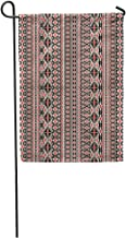 Semtomn Garden Flag Aztec Tribal Ethnic Pattern Geometric Border Indian Abstract Mexico Zentangle Home Yard House Decor Barnner Outdoor Stand 28x40 Inches Flag