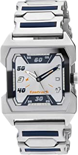 Fastrack Men's White Dial Stainless Steel Band Watch - 1474SM01