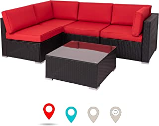 Walsunny Outdoor Black Rattan Sectional Sofa- Patio Wicker Furniture Set Conversation Sets with Tea Table&Washable Couch Cushions (Red)