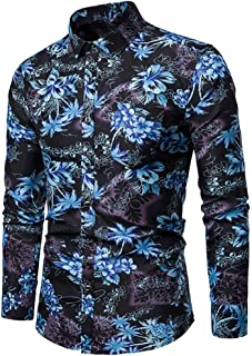 SPE969 Men's 2 Colors Printed Casaul Shirt,M~4XL Plus Size Long Sleeve Shirts Slim Comfortable Long Sleeve Shirt