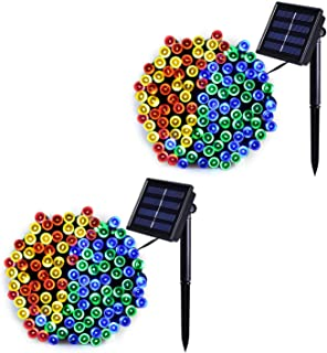 JMEXSUSS 2 Pack Solar String Light 200LED 75.5ft 8 Modes Solar Christmas Lights Waterproof for Gardens, Wedding, Party, Christmas Tree,Homes, Curtains, Outdoors (200LED-Multicolor-2Pack)