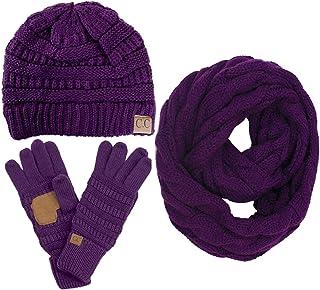 ScarvesMe 3pc Set Trendy Warm Chunky Soft Stretch Cable Knit Beanie Scarves Gloves Set
