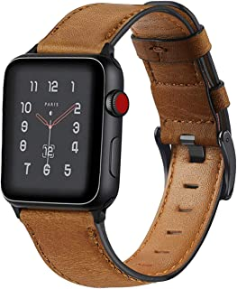 KEYSJEFF Strap for Apple Watch Bands Leather 38mm 44mm 40mm 42mm Replacement Genuine Leather Bands for Iwatch Bands 83011 (Yellow Brown,38mm/40mm)