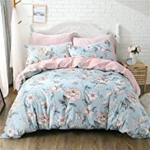 FADFAY Shabby Pink Blue Floral Bedding Sets Cotton Duvet Cover Set 4-Piece Full Size