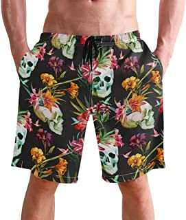 Beach Shorts, Vintage Skull Floral Printed Mens Trunks Swim Short Quick Dry with Pockets for Summer Surfing Boardshorts Ou...