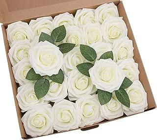 YSBER Roses Artificial Flowers - 25Pcs Big PE Foam Rose Artificial Flower Head for DIY Wedding Bouquets Centerpieces Bridal Shower Party Home Decorations (25 PCS, Ivory)