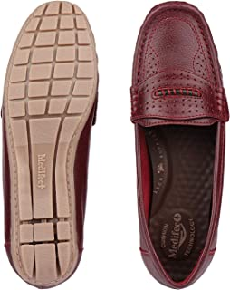 Medifeet Women Comfortable Leather Lofers in Wine Colour/Casual Shoes Loafer Shoes for Men's, Boys
