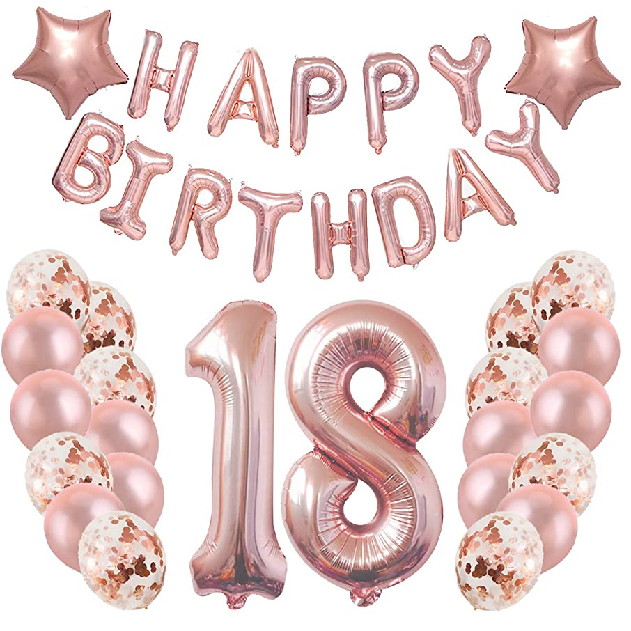 Birthday Party Decorations Supplies,18th Birthday Balloons Rose Gold,Great Sweet 18th Birthday Gifts for Girls,Photo Props