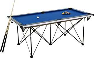 "Triumph Sports 6' Portable Pop Up Folding Pool/Billiard Table with Folding Legs, Instant Assembly and Accessories Included, Blue, 72"" (45-6051W)"