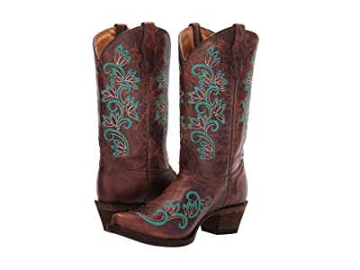 Corral Boots Kids A3151 (Little Kid/Big Kid) (Brown/Turquoise) Cowboy Boots