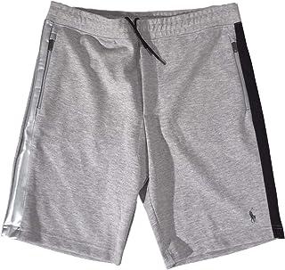Ralph Lauren Men's Grey Heather Double Knit TECH-Fleece Shorts W/Silver,Black Side Stripes