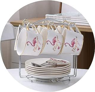 Fashion Flamingo Bone China Coffee Cup Saucer Spoon Set Lover Ceramic Tea Cup Advanced Porcelain Teacup 200ml Drinkware,Female6CupSilverRack