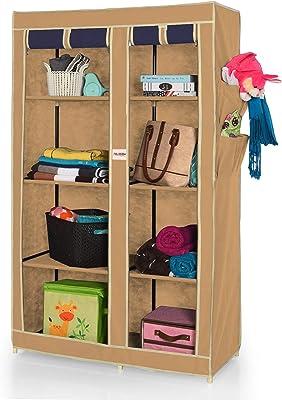 FOLDDON 265 Dual Color Foldable Wardrobe 2 Door / 8 Shelves (Beige & Navy Blue)