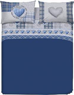 PENSIERI DELICATI Parure de lit 2 Places 100% Coton, 180x200 avec Drap inférieur, Drap supérieur et 2 taies d'oreiller, Ma...